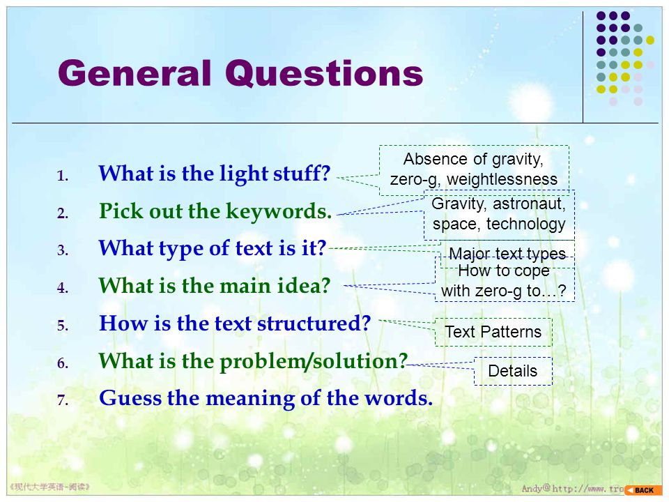 General Questions What is the light stuff Pick out the keywords.