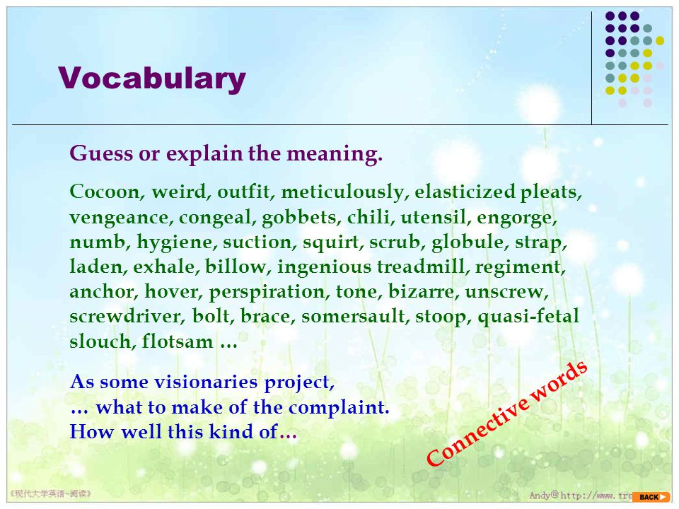 Vocabulary Guess or explain the meaning. Connective words