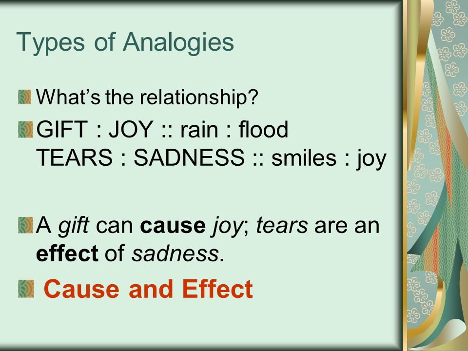 Types of Analogies Cause and Effect