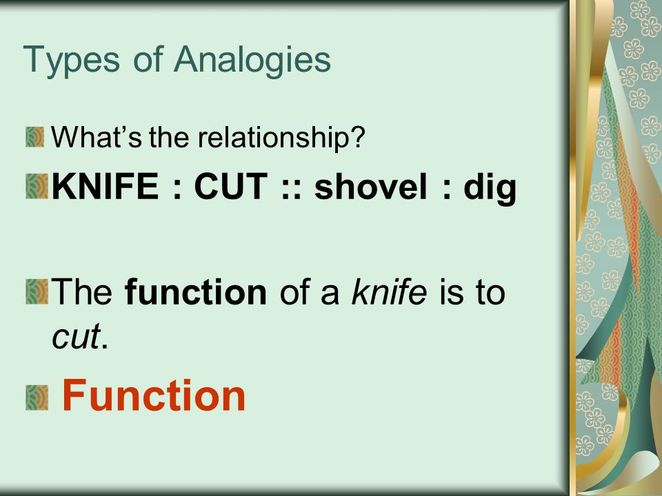 KNIFE : CUT :: shovel : dig The function of a knife is to cut.