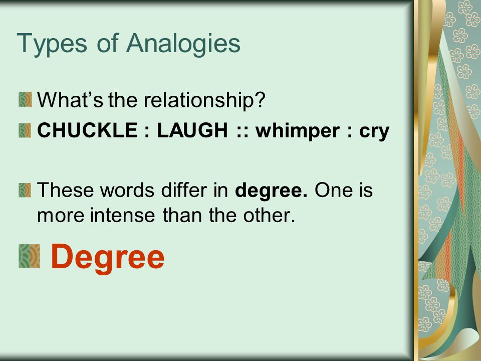 Degree Types of Analogies What's the relationship