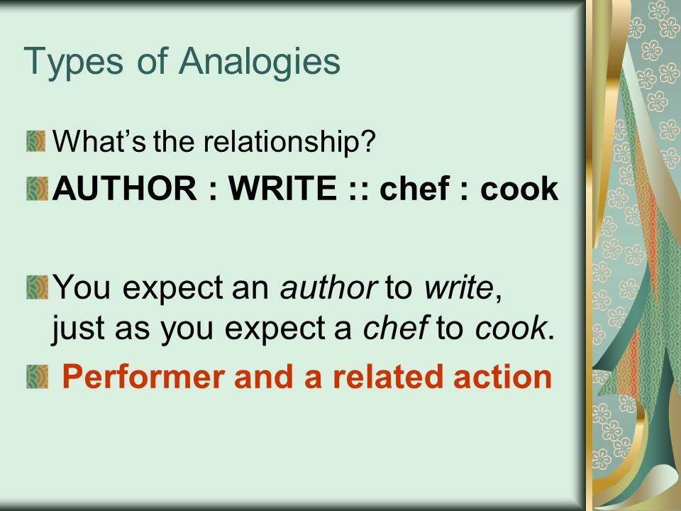 Types of Analogies AUTHOR : WRITE :: chef : cook