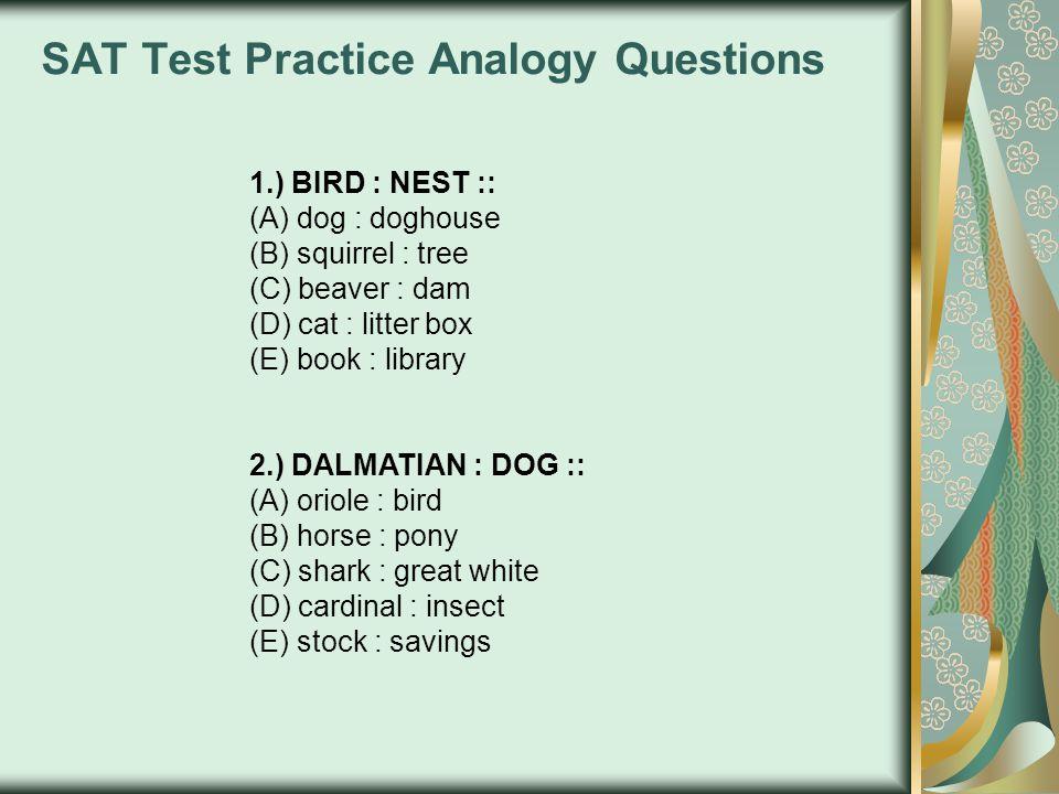 SAT Test Practice Analogy Questions