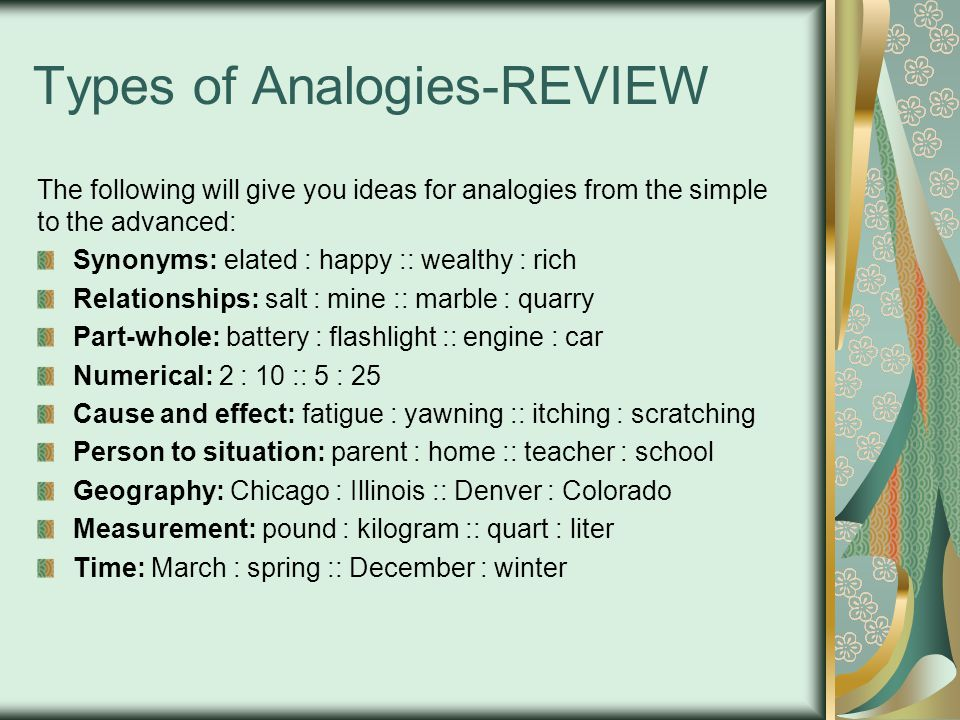 Types of Analogies-REVIEW