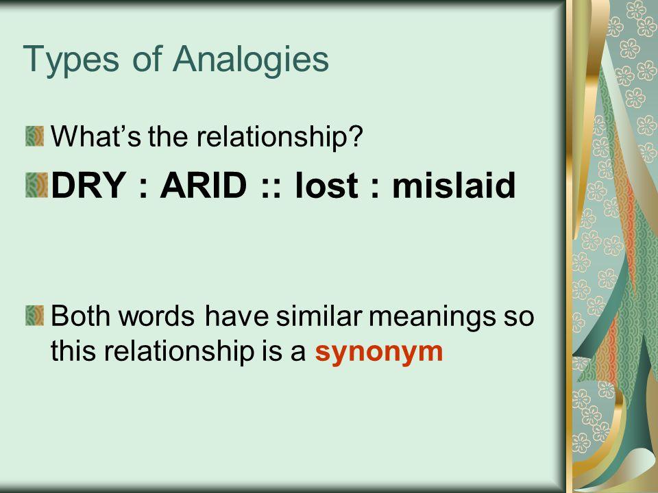 DRY : ARID :: lost : mislaid