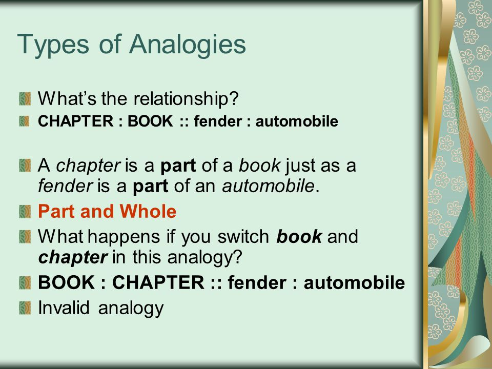 Types of Analogies What's the relationship