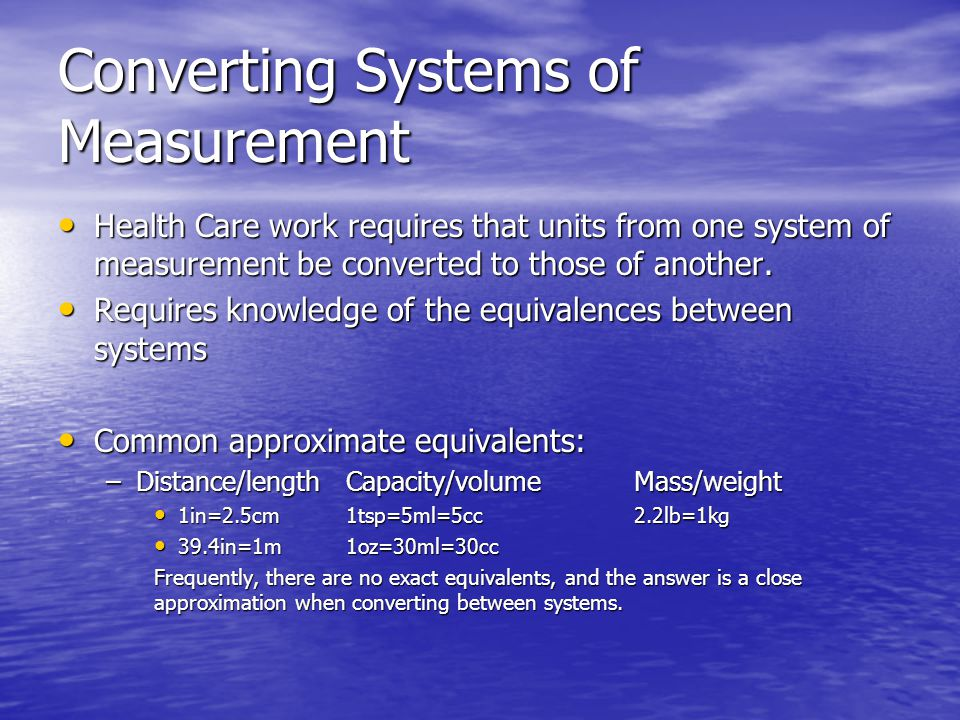 Converting Systems of Measurement