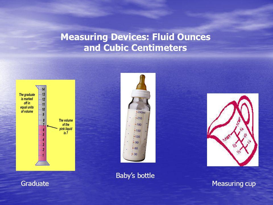 Measuring Devices: Fluid Ounces and Cubic Centimeters