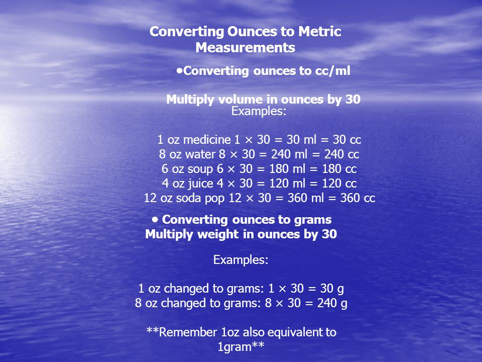 Converting Ounces to Metric Measurements