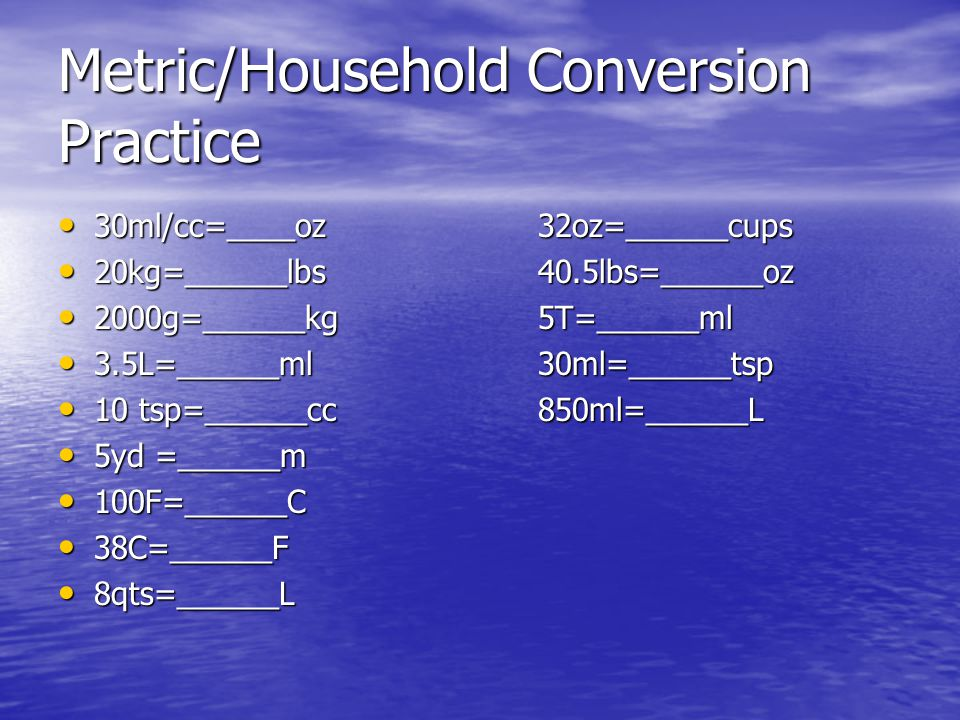 Metric/Household Conversion Practice