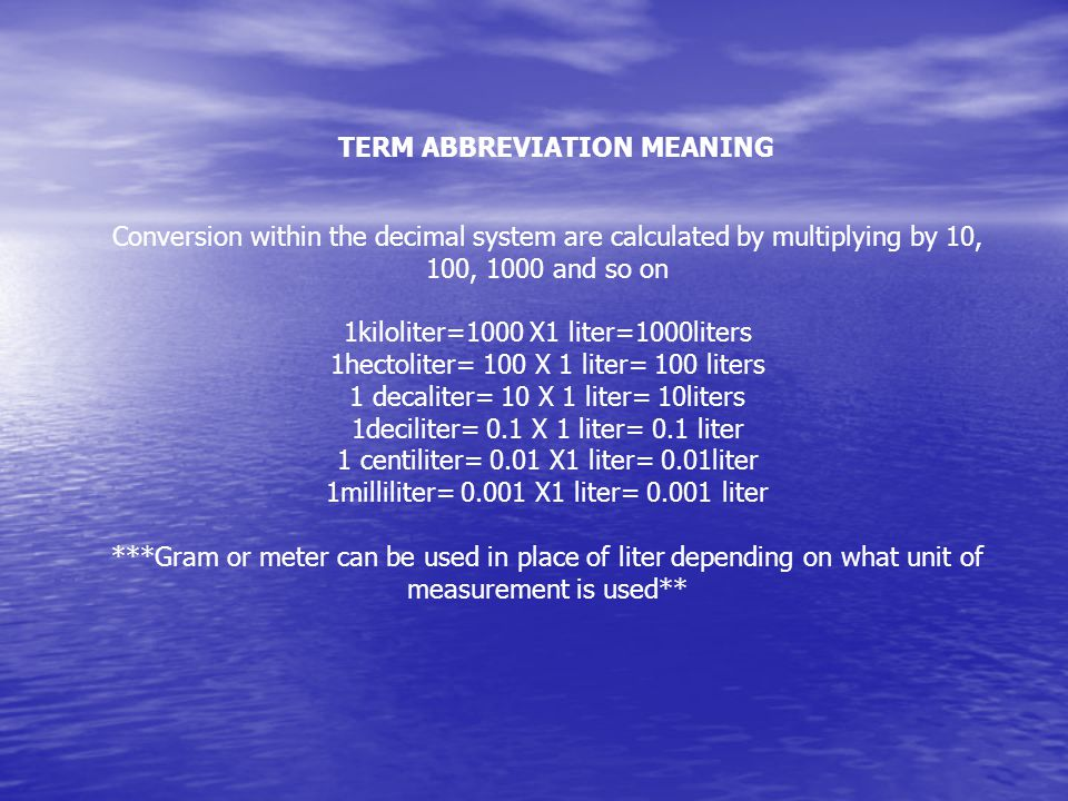 TERM ABBREVIATION MEANING
