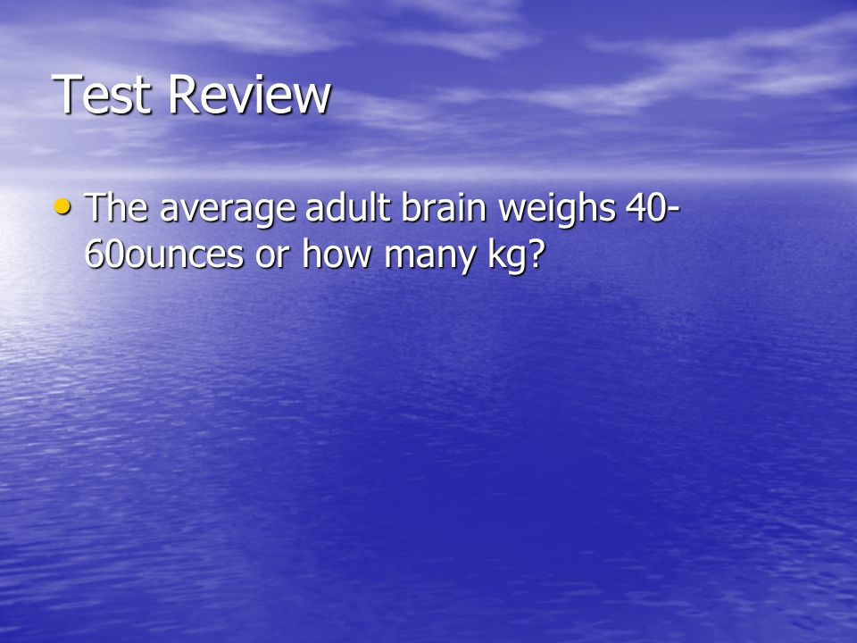 Test Review The average adult brain weighs 40-60ounces or how many kg
