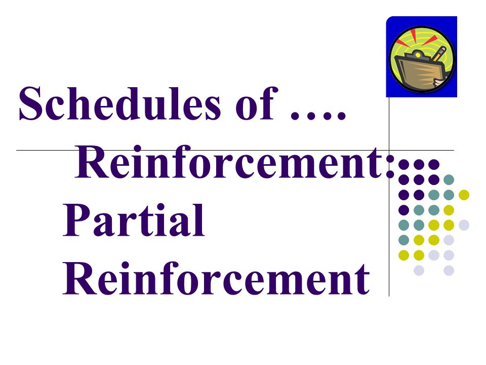 Schedules of …. Reinforcement: Partial Reinforcement
