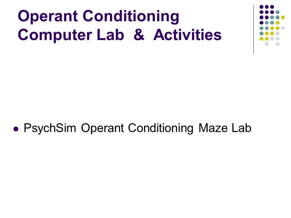 Operant Conditioning Computer Lab & Activities