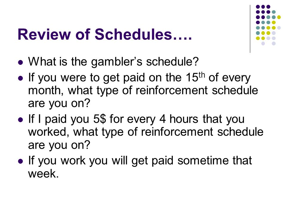 Review of Schedules…. What is the gambler's schedule