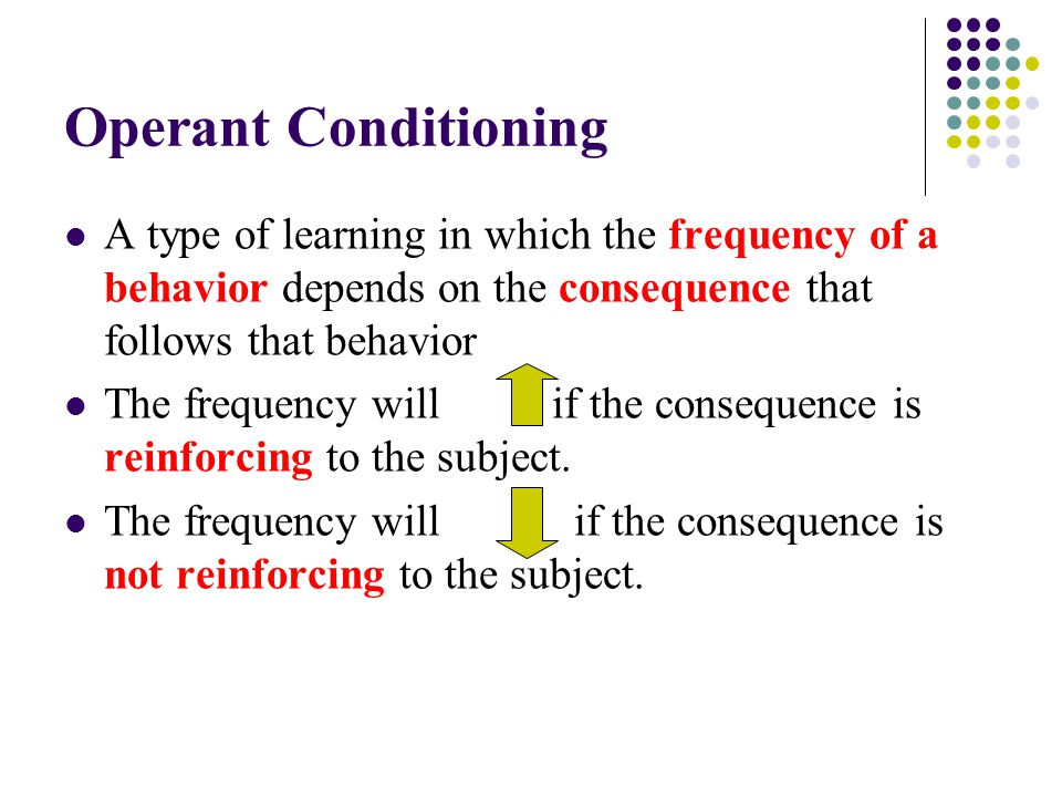 Operant Conditioning A type of learning in which the frequency of a behavior depends on the consequence that follows that behavior.