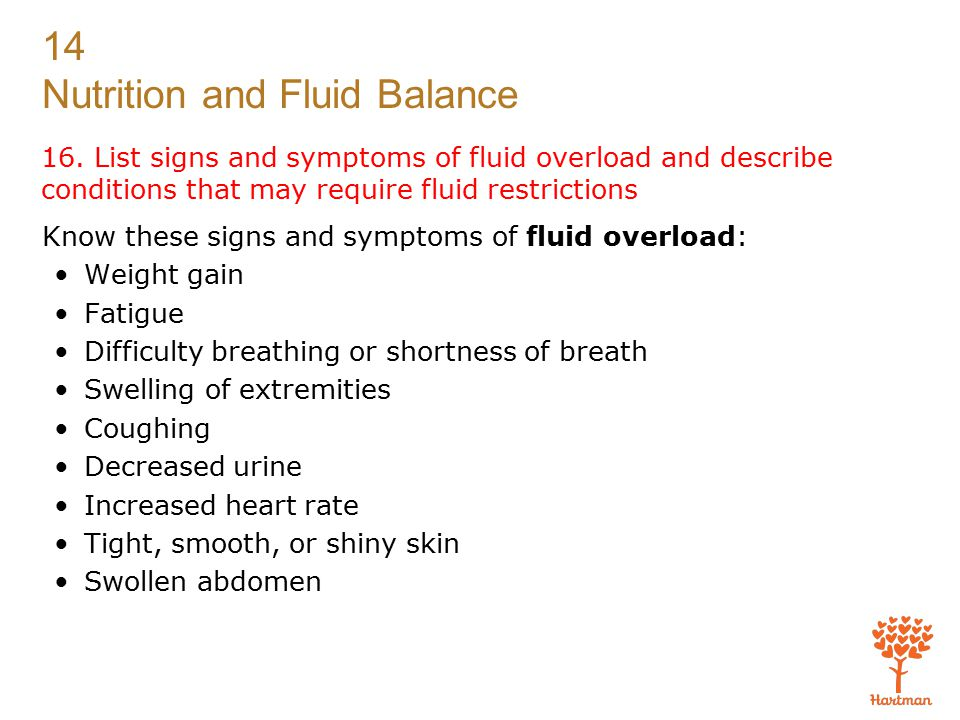 16. List signs and symptoms of fluid overload and describe conditions that may require fluid restrictions
