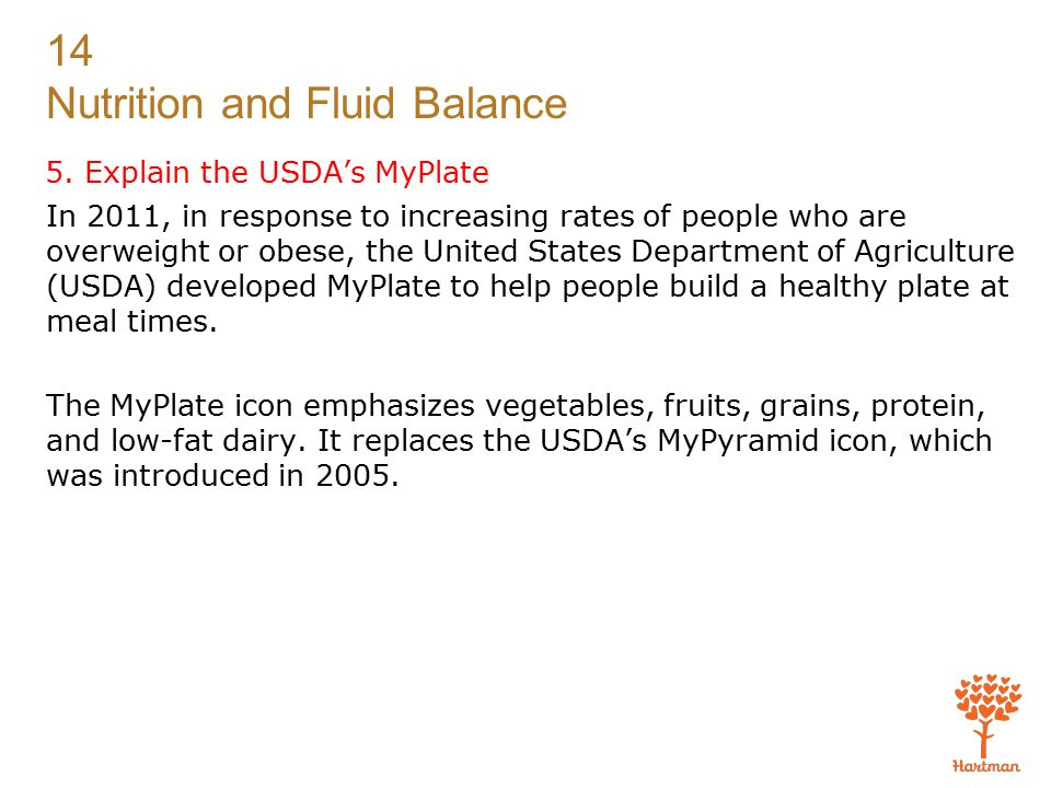 5. Explain the USDA's MyPlate