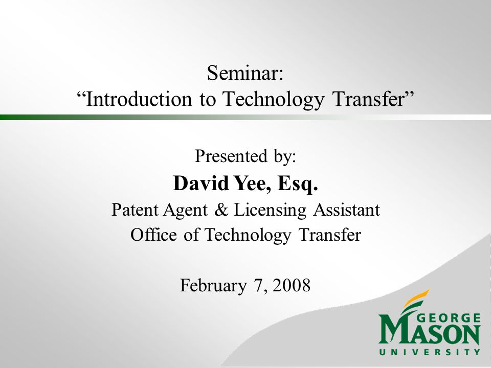 Seminar: Introduction to Technology Transfer