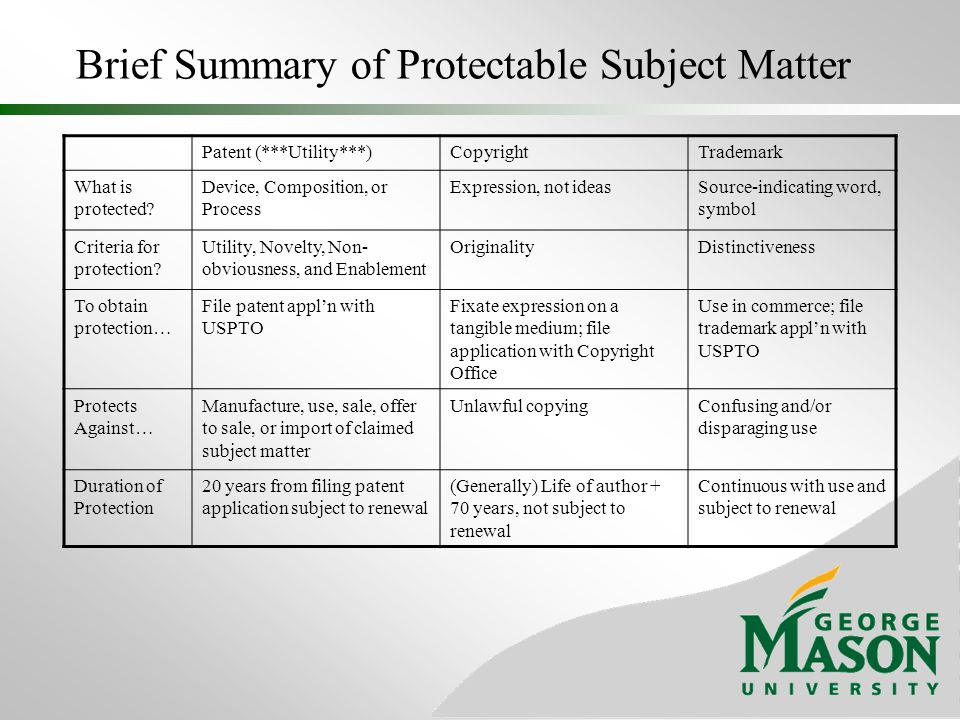 Brief Summary of Protectable Subject Matter