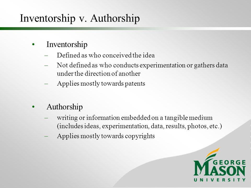 Inventorship v. Authorship