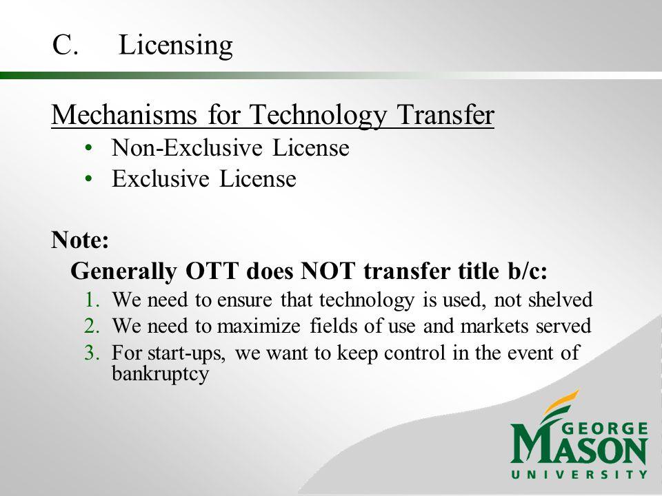 Mechanisms for Technology Transfer