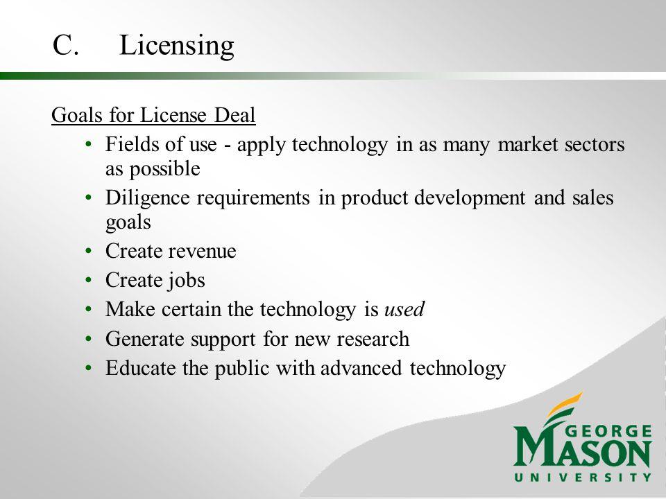 C. Licensing Goals for License Deal