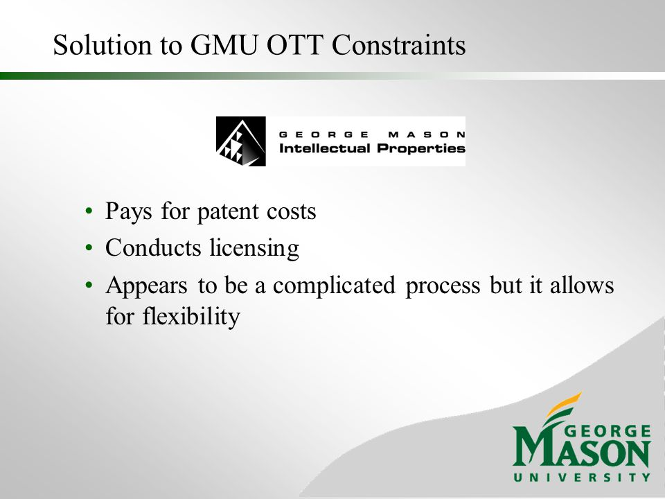 Solution to GMU OTT Constraints
