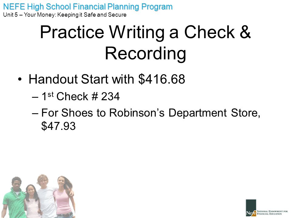 Practice Writing a Check & Recording