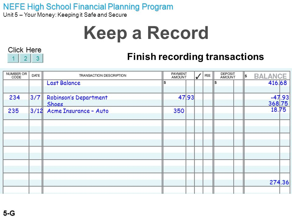 Keep a Record Finish recording transactions Click Here 5-G 1 2 3