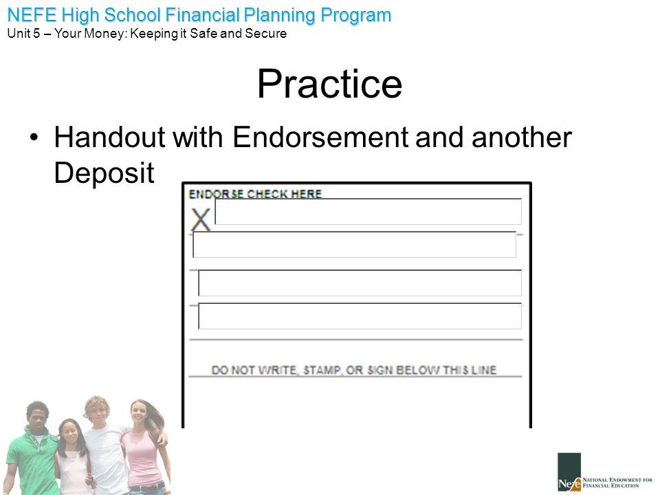 Practice Handout with Endorsement and another Deposit