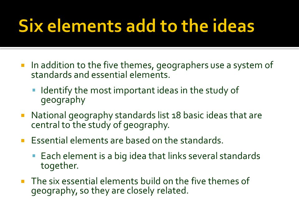 Six elements add to the ideas