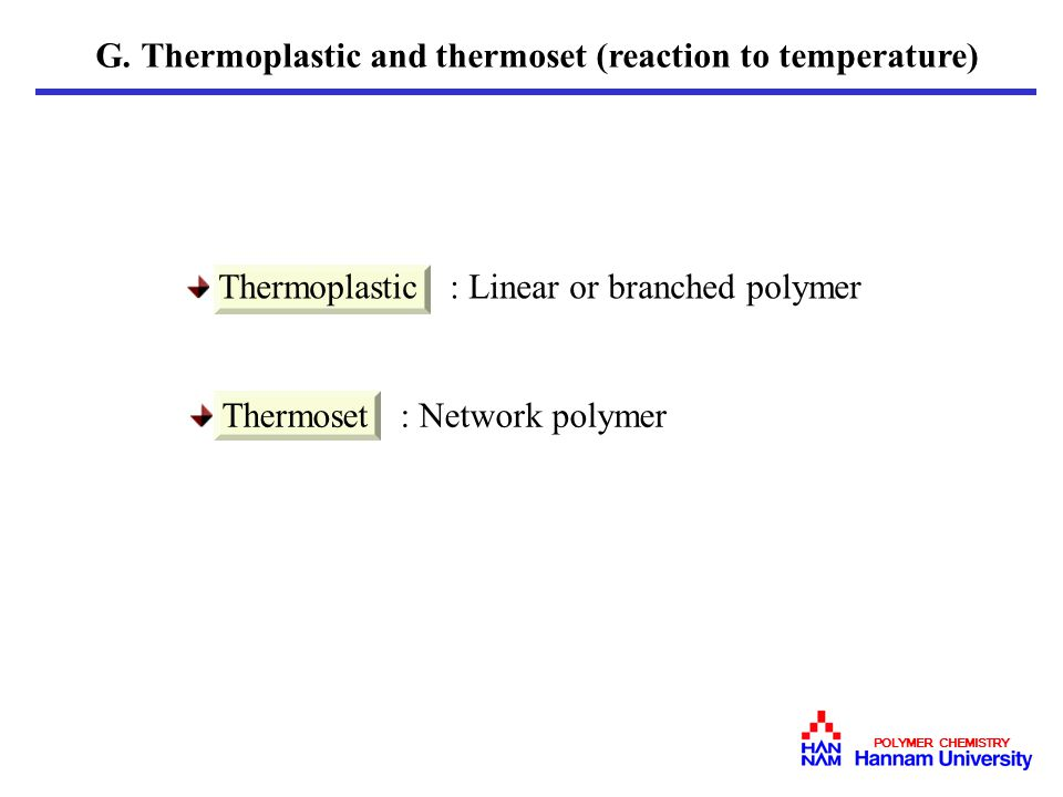 G. Thermoplastic and thermoset (reaction to temperature)