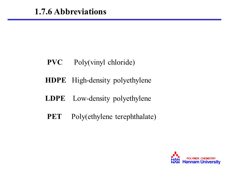 1.7.6 Abbreviations PVC Poly(vinyl chloride)