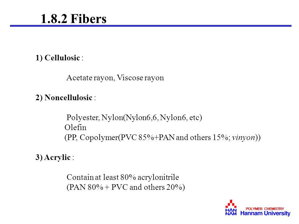 1.8.2 Fibers 1) Cellulosic : Acetate rayon, Viscose rayon