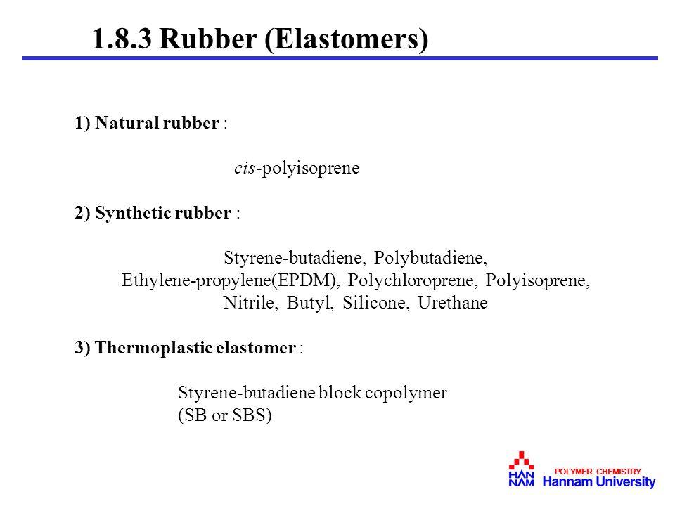 1.8.3 Rubber (Elastomers) 1) Natural rubber : cis-polyisoprene