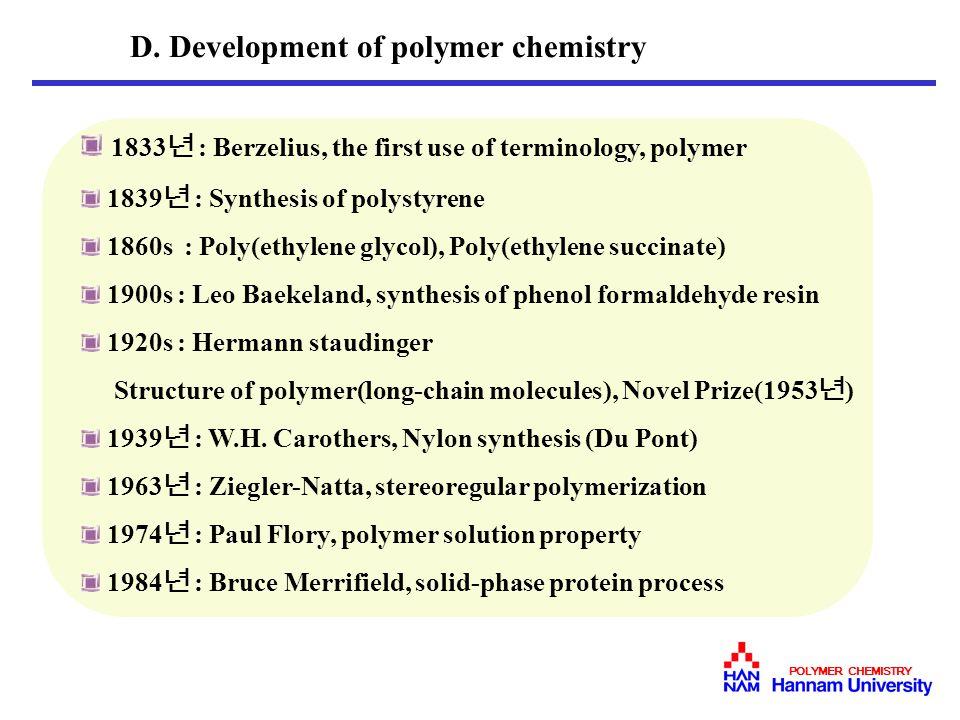 D. Development of polymer chemistry