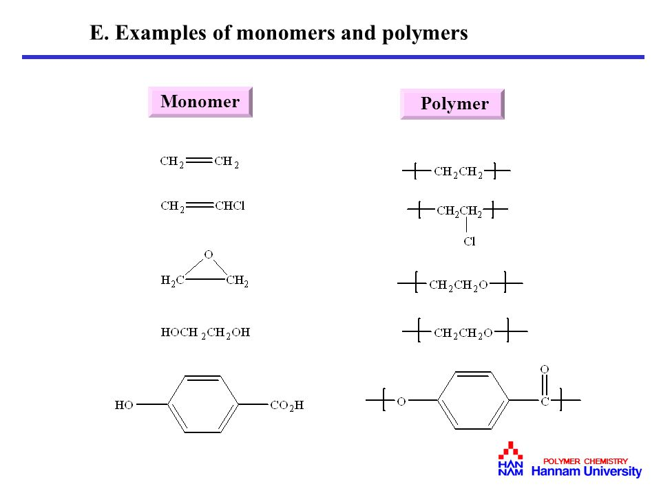E. Examples of monomers and polymers