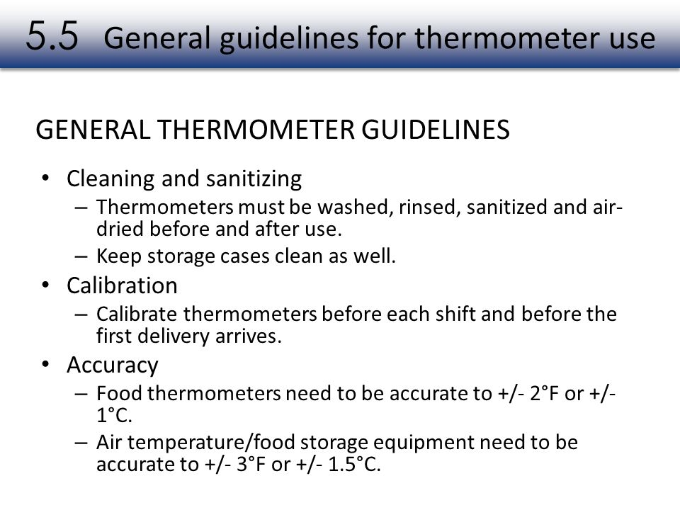 General guidelines for thermometer use