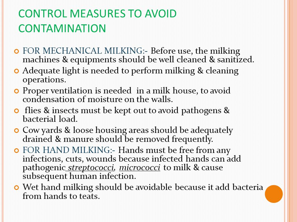 CONTROL MEASURES TO AVOID CONTAMINATION