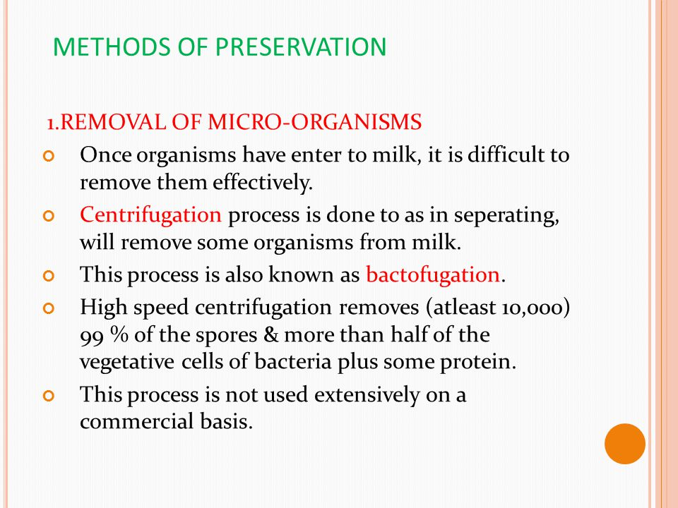 METHODS OF PRESERVATION