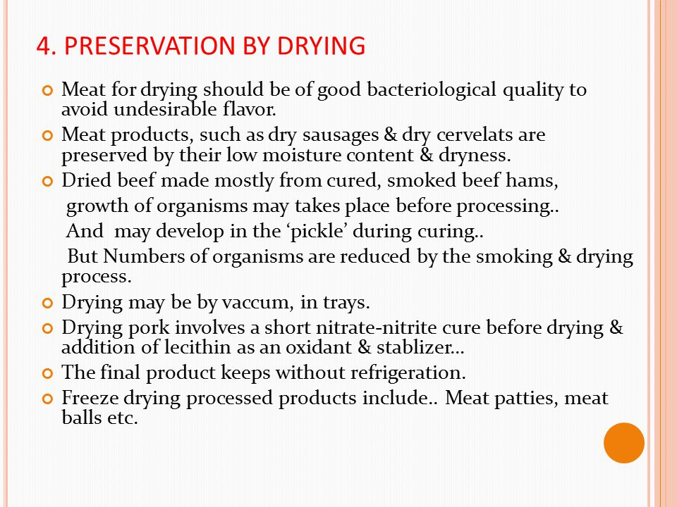 4. PRESERVATION BY DRYING