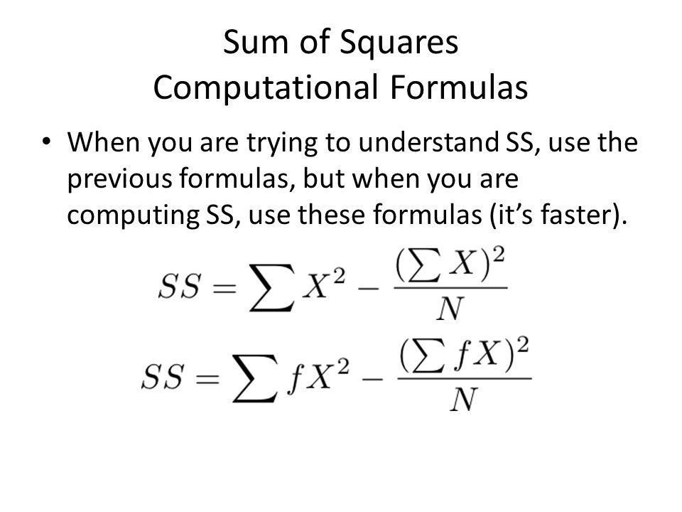 Sum of Squares Computational Formulas