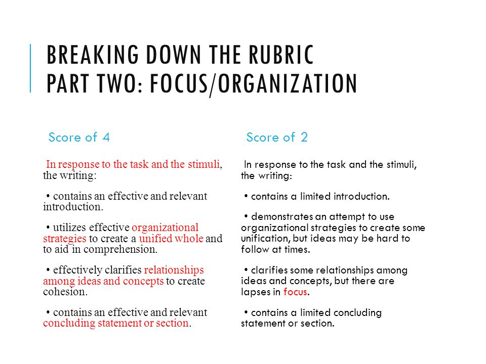 Breaking down the rubric Part two: Focus/organization