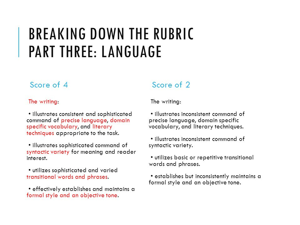 Breaking down the rubric Part three: Language