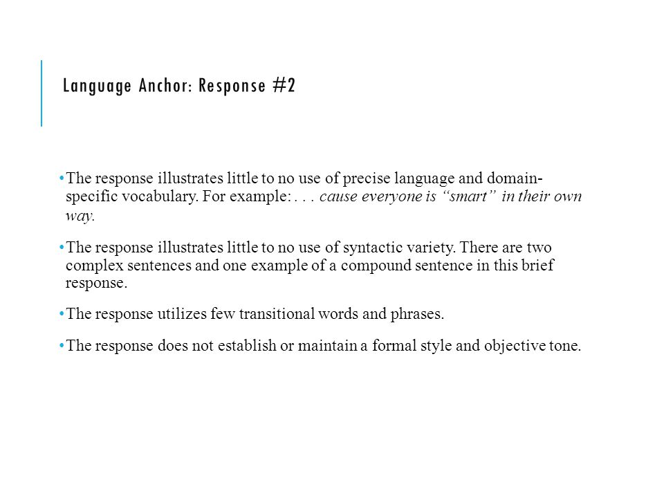 Language Anchor: Response #2