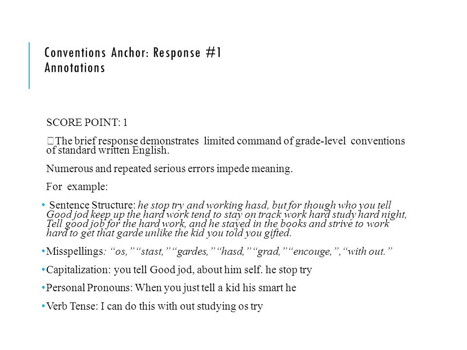 Conventions Anchor: Response #1 Annotations