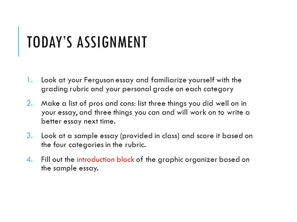 Today's Assignment Look at your Ferguson essay and familiarize yourself with the grading rubric and your personal grade on each category.