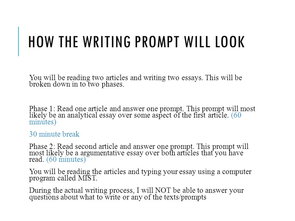 How the writing prompt will look