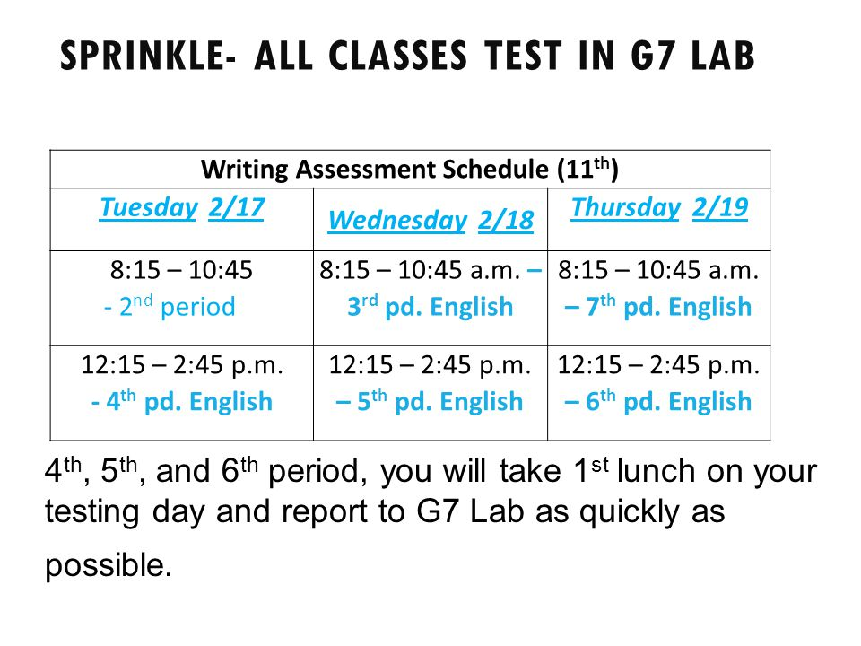 Sprinkle- all classes test in G7 Lab